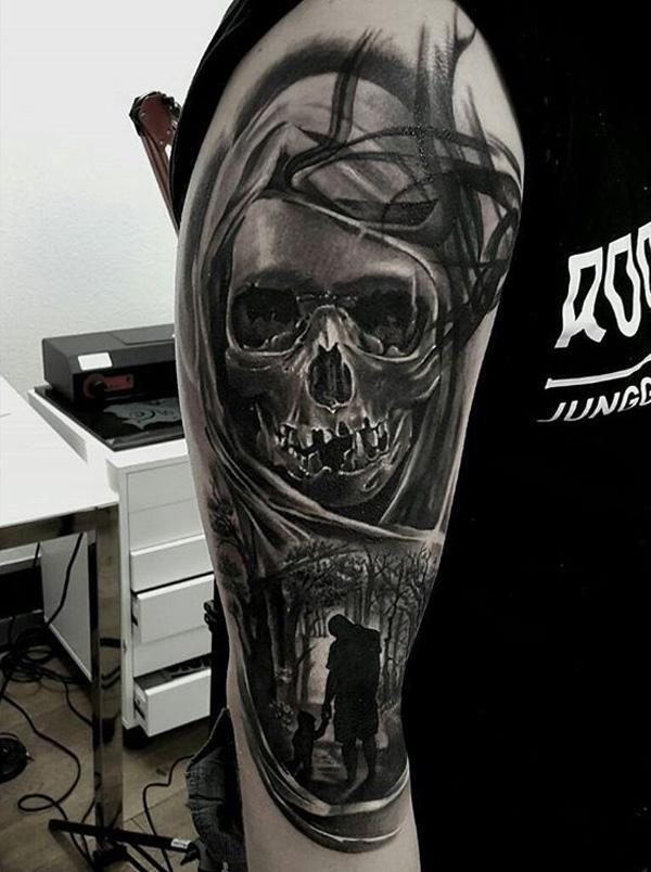 98-Black and white skull tattoo