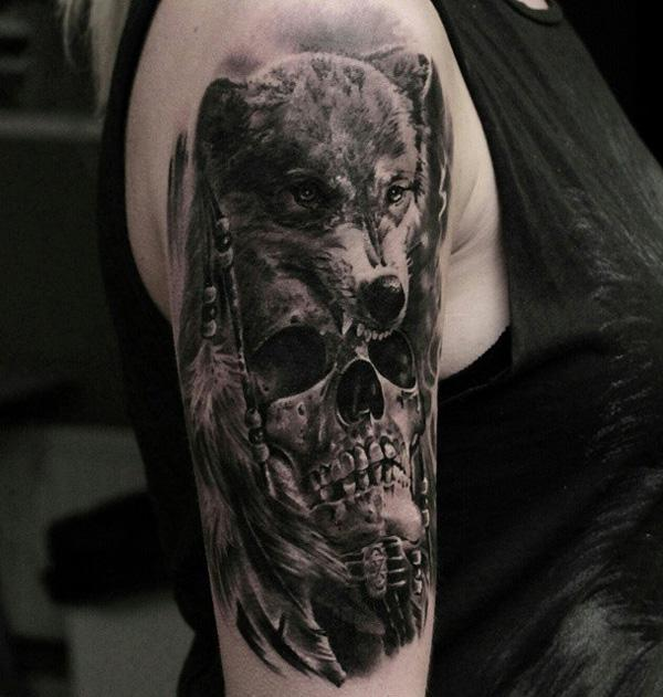 99-Skull and wolf tattoo