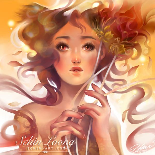 Blooming tea - Fantasy Digital Portraits by Schin Loong  <3 <3