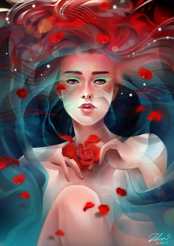 Rose tea - Fantasy Digital Portraits by Schin Loong  <3 <3