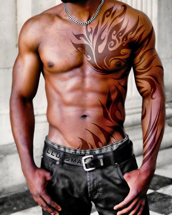 lion tribal tattoos on chest