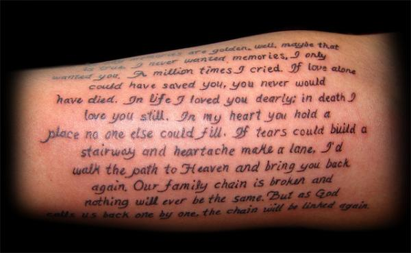 Small Font Tattoo on forearm