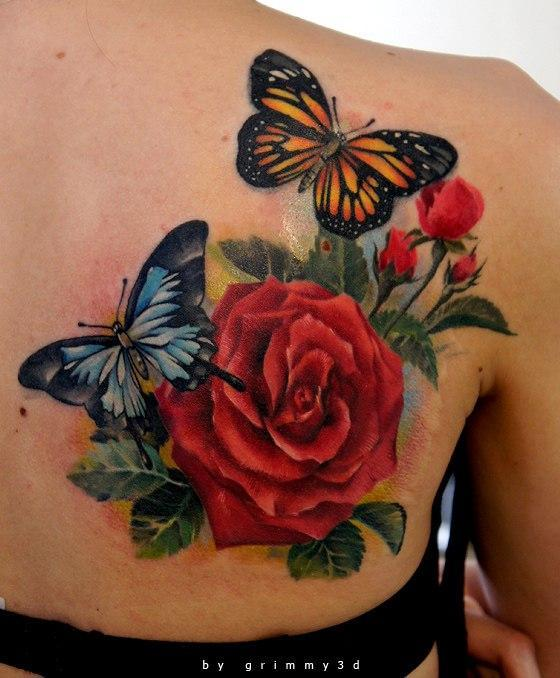 94efdd21ea roses and batterflyes by grimmy3d - 100+ Amazing Butterfly Tattoo Designs  <3 <3 ...