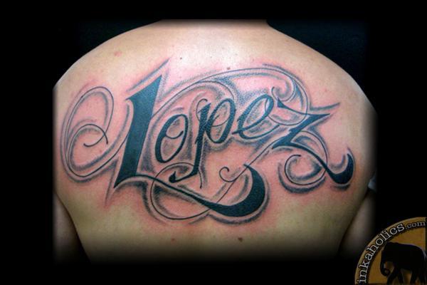 Font back tattoo