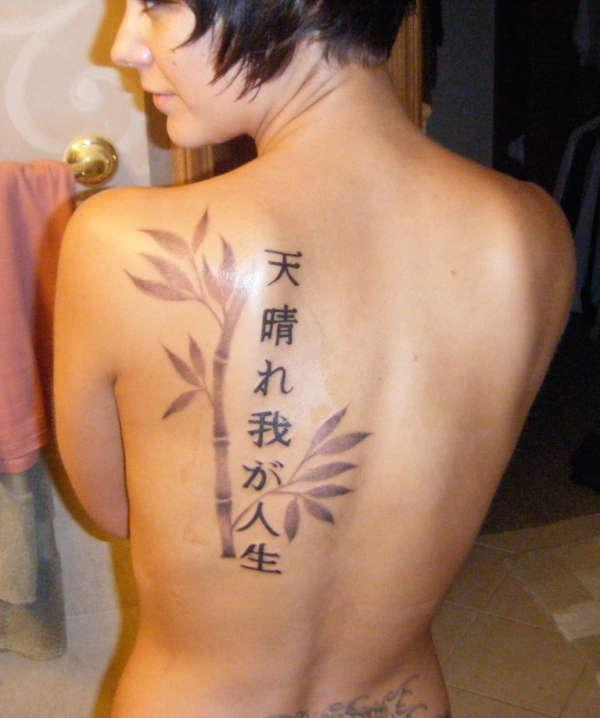 Japanese Tattoo Fonts For Women In Background Of Bamboo
