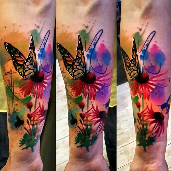 8657830c6 Colorful watercolor flower and butterfly tattoo - 100+ Amazing Butterfly  Tattoo Designs ...