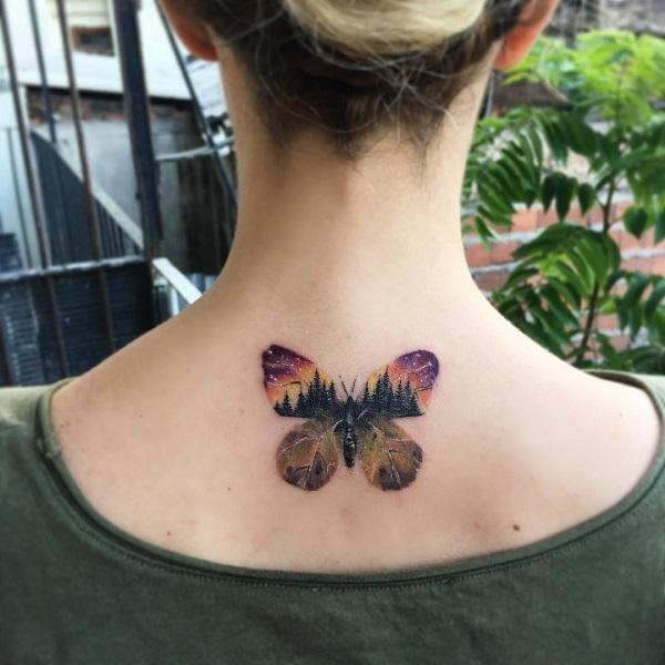 4064f6b89 Landscape butterfly neck tattoo - 100+ Amazing Butterfly Tattoo Designs ...