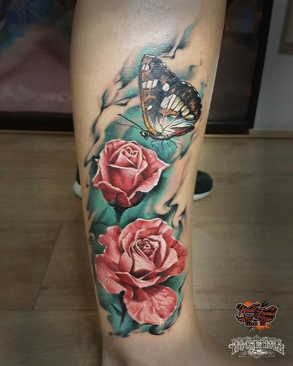 2e296898f3f1b Rose and butterfly leg tattoo - 100+ Amazing Butterfly Tattoo Designs ...