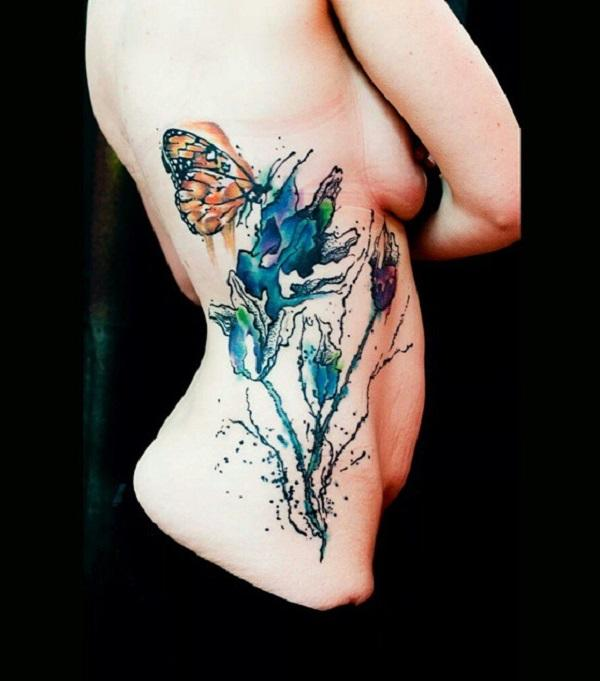 4e942a592 Watercolor butterfly and flower side tattoo for women - 100+ Amazing Butterfly  Tattoo Designs ...