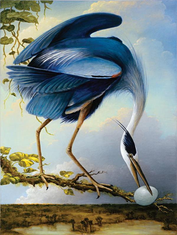 Grandes obras de la pintura y la escultura. Great-blue-heron