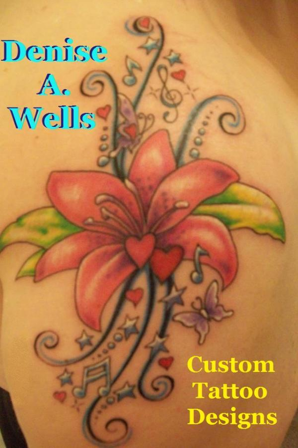 7cac9eafe Lily Song Tattoo Design by Denise A. Wells - 55+ Awesome Lily Tattoo  Designs ...