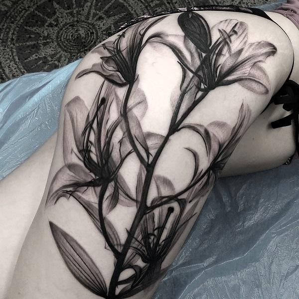 499e4ddbd Black and white lily tattoo by Matt Jordan - 55+ Awesome Lily Tattoo Designs  ...