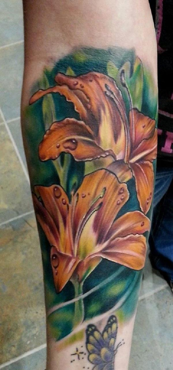 Realistic Yellow Lily Tattoo by Rodney Eckenberger