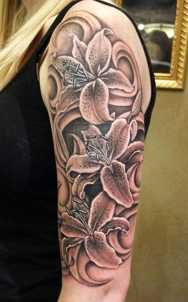 1edd74f93 Realistic black and white lily tattoo on half sleeve - 55+ Awesome Lily  Tattoo Designs ...
