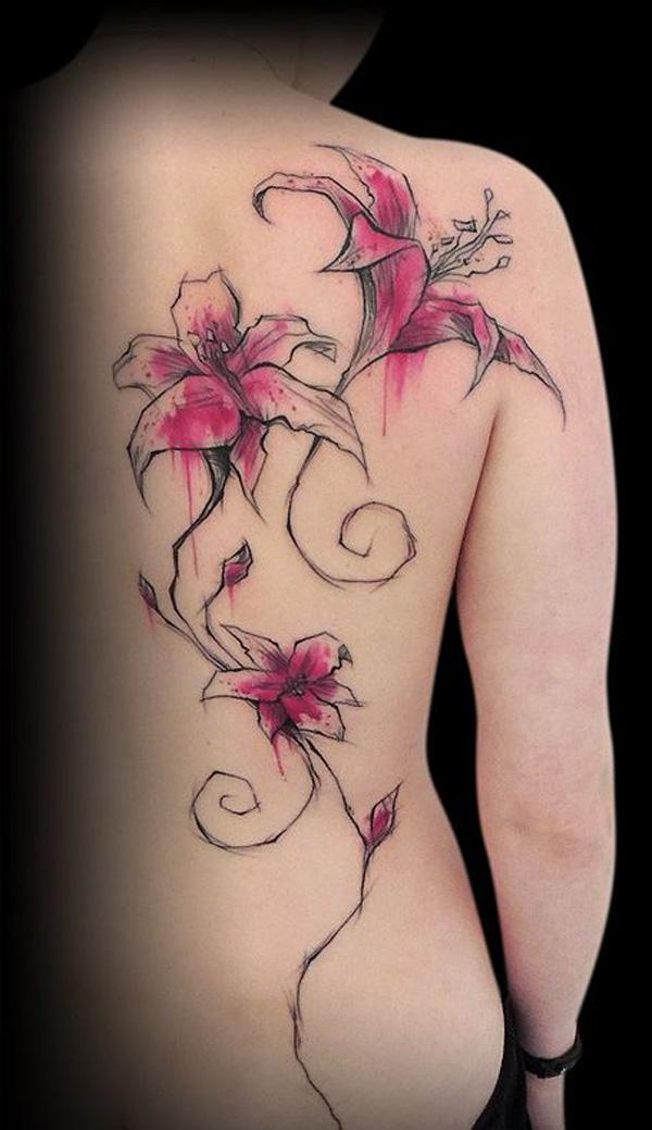 Realistic lily back tattoo