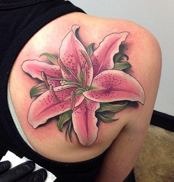 93297f2dc Realistic pink lily on back tattoo - 55+ Awesome Lily Tattoo Designs ...
