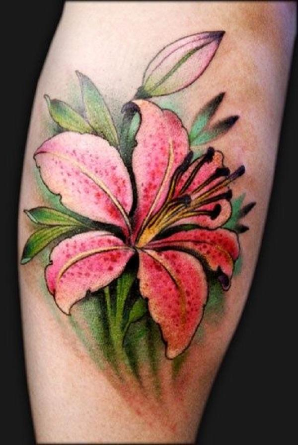 Realistic pink lily on leg