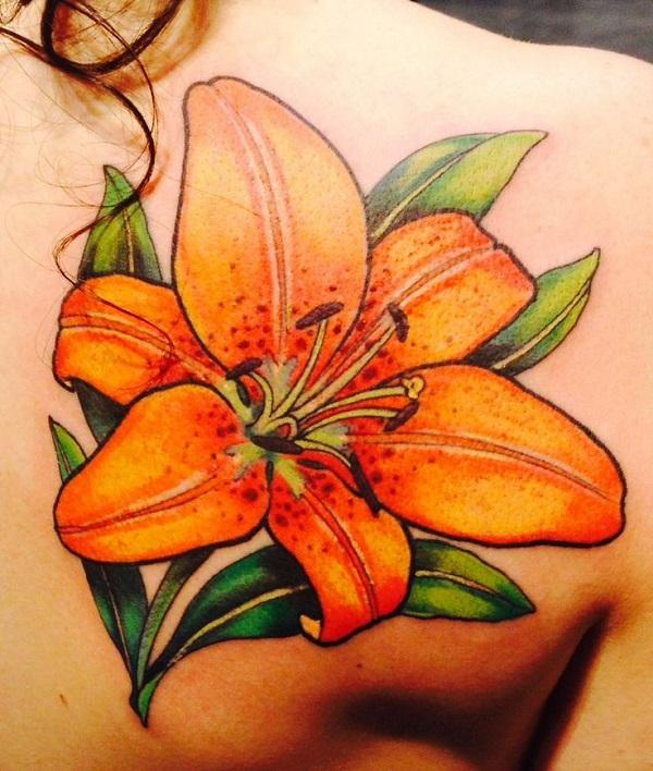 Realistic tige lily on back