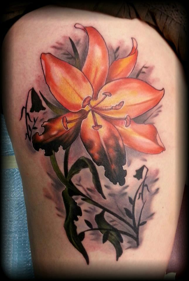 Yellow lily Tattoo by Rodney Eckenberger