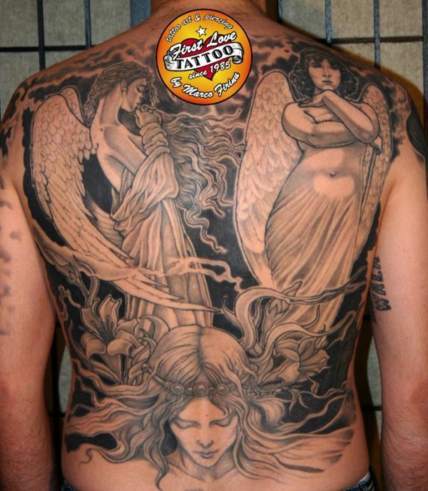 Thiên thần trên lưng - 60 Thánh Thiên thần Tattoo Designs <3 <3