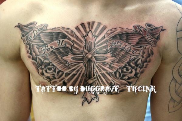 Winged mảnh cờ chéo - 60 Thánh Thiên thần Tattoo Designs <3 <3