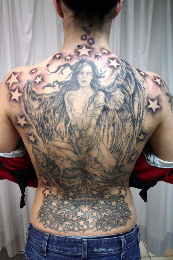 đôi cánh thiên thần đã hoàn thành hình xăm - 60 Thánh Thiên thần Tattoo Designs <3 <3