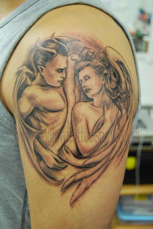 The Devil và Angel Tattoo - 60 Thánh Thiên thần Tattoo Designs <3 <3