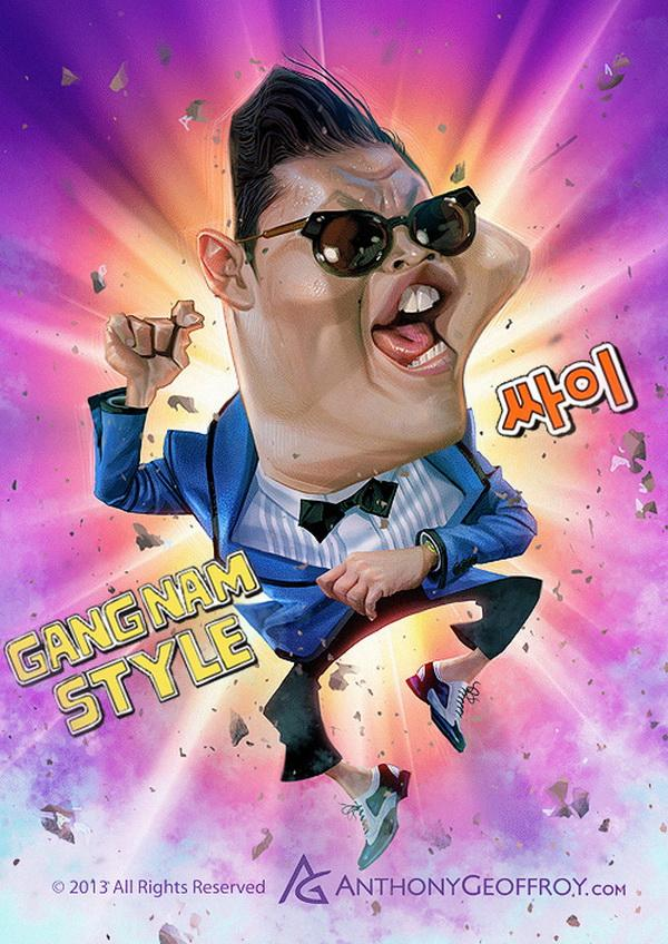 gangnam style - Anthony Geoffroy is an illustrator and character designer from Lyon, France who created a series of humorous caricature characters of some of best known celebrities using various techniques in his creations, digital and tradition art.