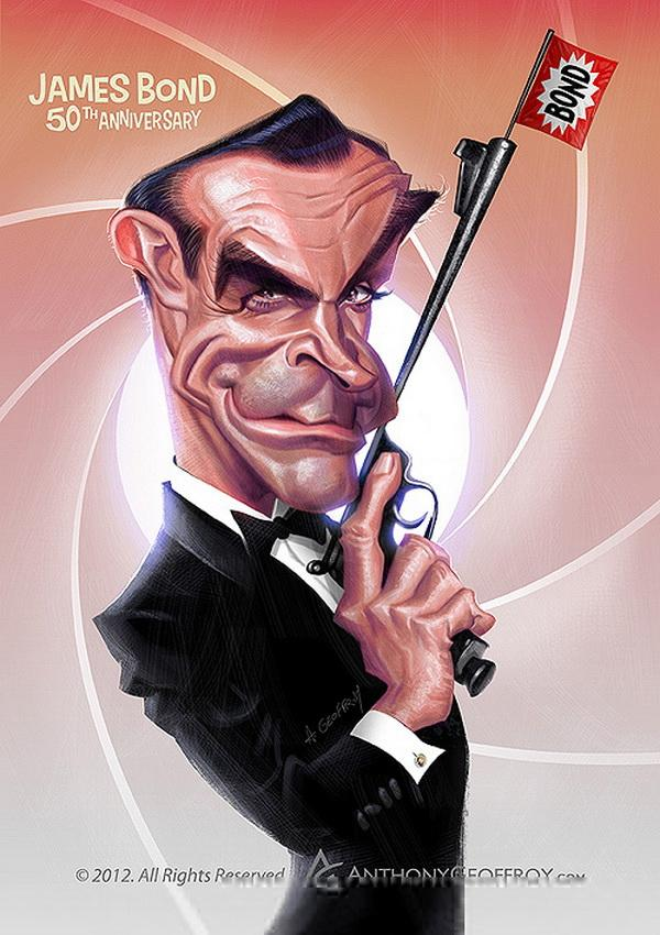 james bond 50th anniversary - Caricature Illustrations by Anthony Geoffroy | Art and Design