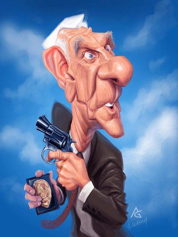 leslie nielsen - Caricature Illustrations by Anthony Geoffroy | Art and Design