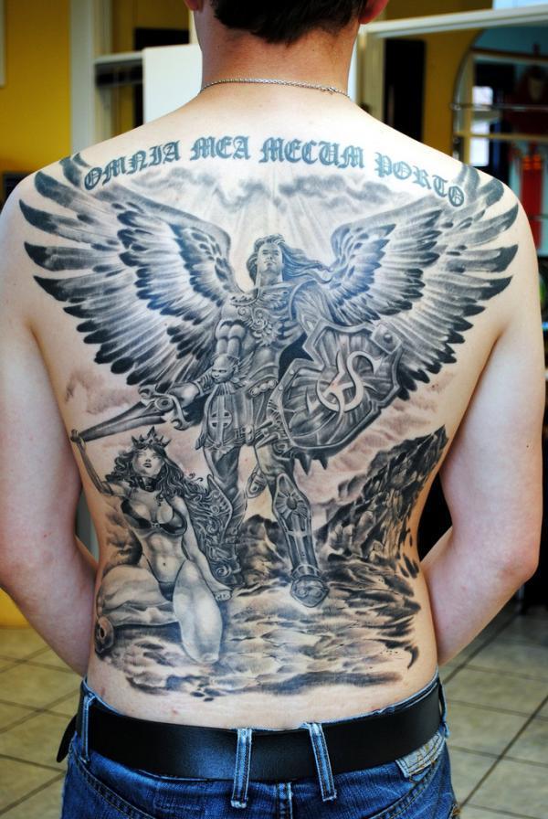 Warior thiên thần backpiece - 60 Thánh Thiên thần Tattoo Designs <3 <3