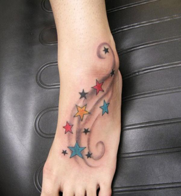 sao hình xăm trên chân với xoáy - 25 ảnh vui nhộn sao Tattoo Designs <3 <3