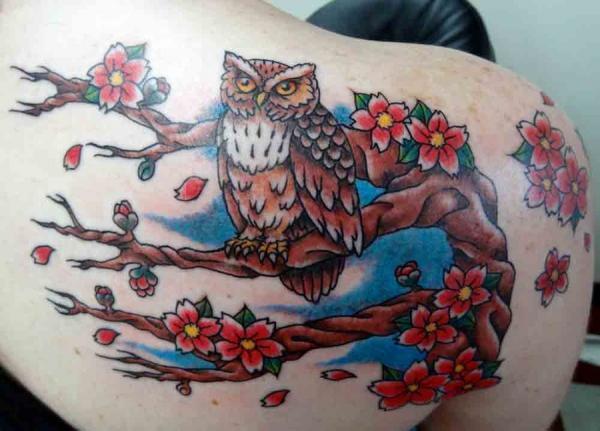 Owl trên Cherry Tree - 30 ảnh vui nhộn Cherry Tattoos Designs <3 <3
