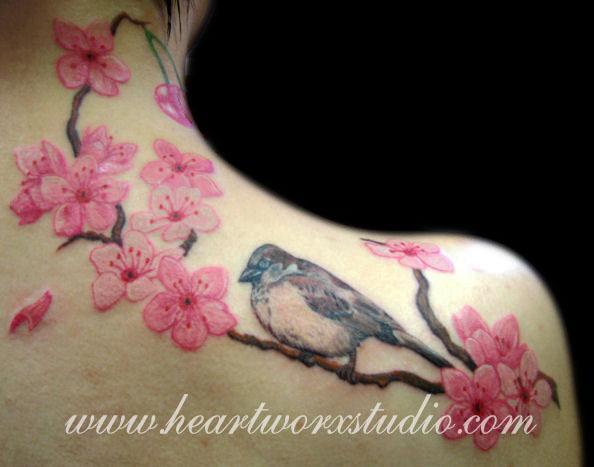 chim sẻ và hoa anh đào - 30 ảnh vui nhộn Cherry Tattoos Designs <3 <3