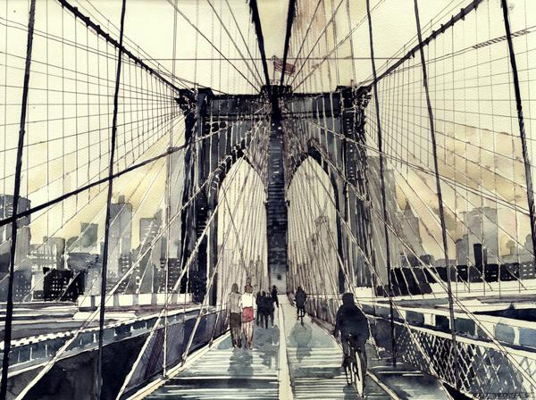 Arhitektura u delima slikara Brooklyn_bridge_by_takmaj