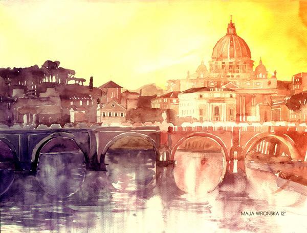 Arhitektura u delima slikara Sunset_in_rome_by_takmaj