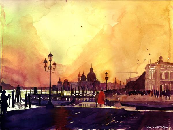 Arhitektura u delima slikara Sunset_in_venezia_by_takmaj