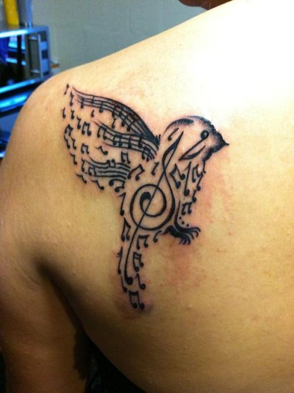 32 Music bird tattoo