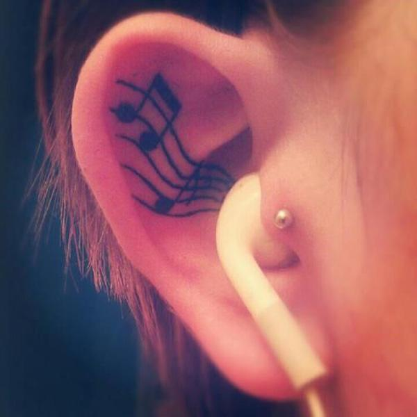 36 Music notes on ear