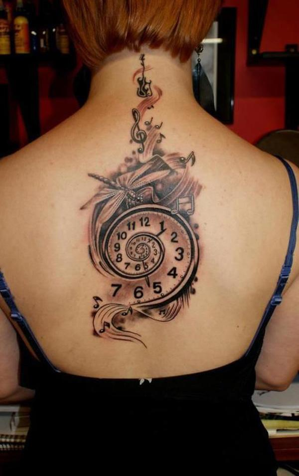 43 Music tattoo on back