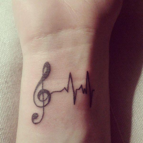 47 Music tattoo on wirst