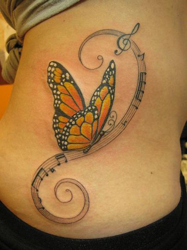 48 Music note and butterfly tattoo
