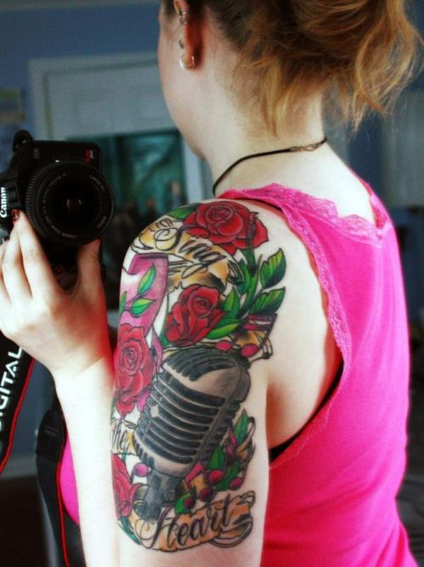53 Microphone and rose tattoo