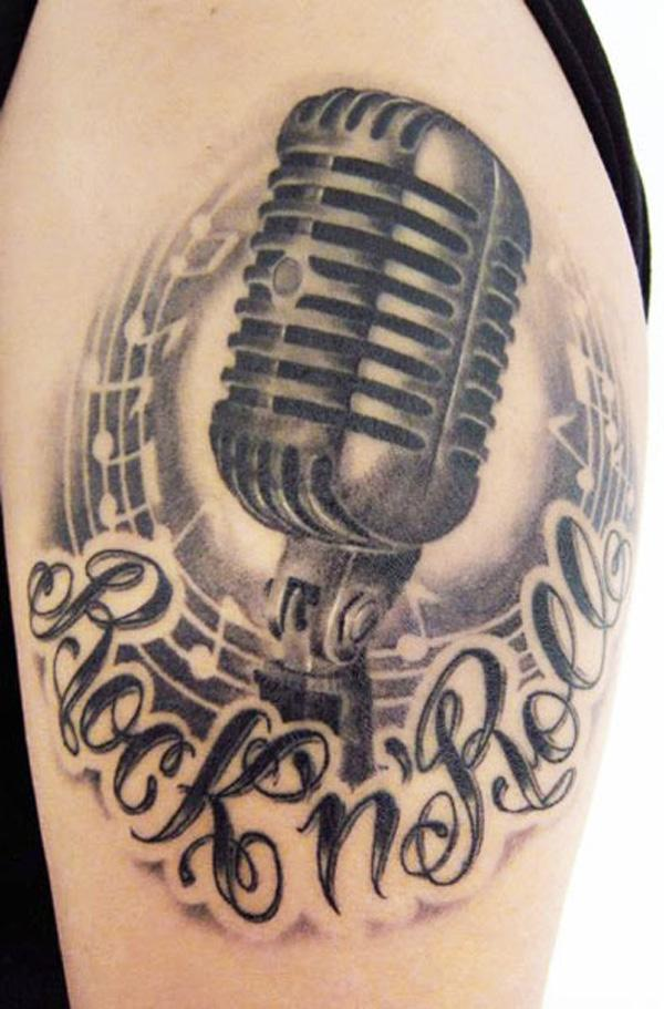 57 Music microphone tattoo