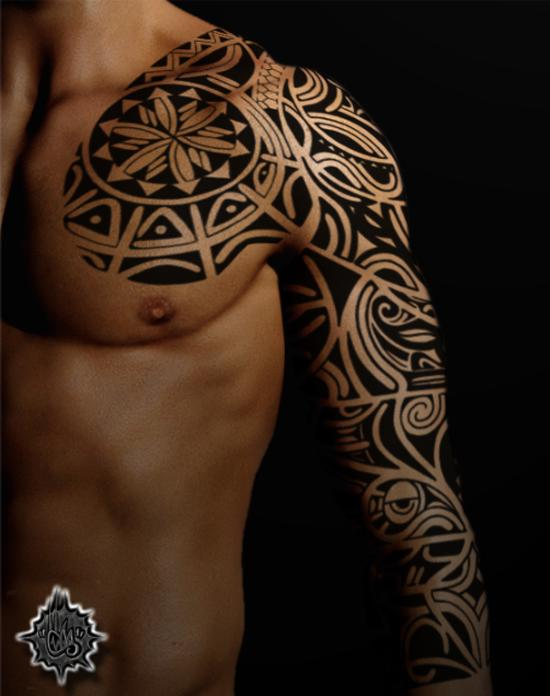 polynesian chest tribal tattoos Tattoo and Awesome Designs  Maori  Design 35 Art