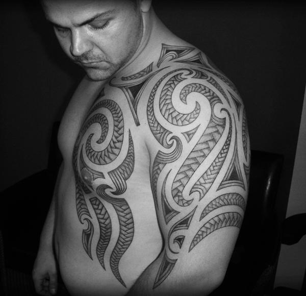 Hawaiian Tribal Chest Tattoo
