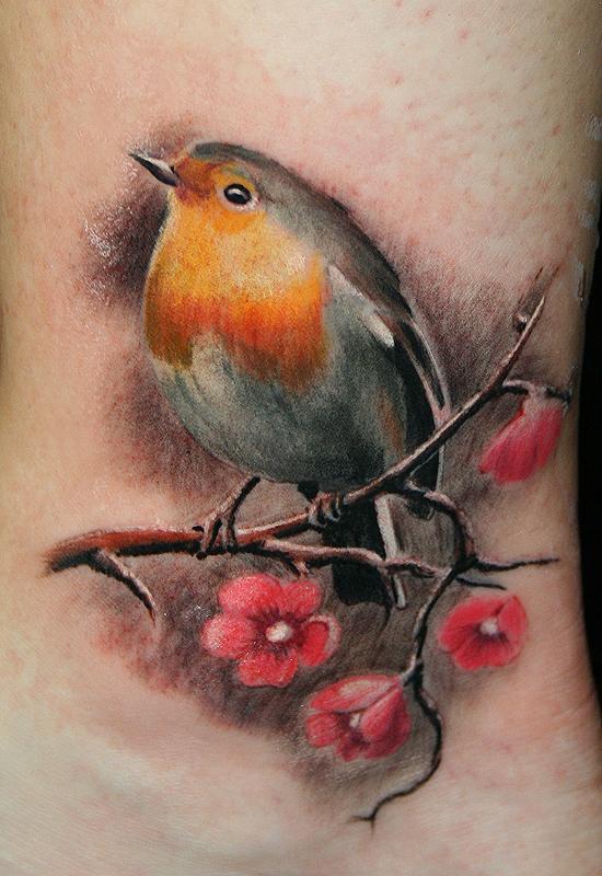Red robin bird tattoo - photo#5