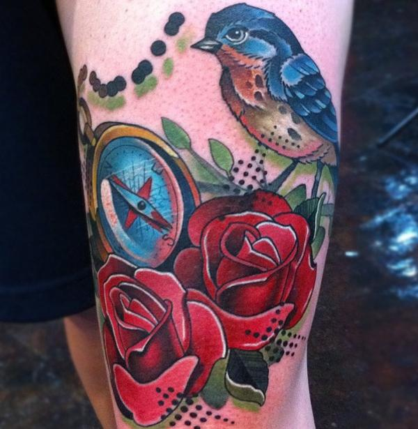 flying blackbird tattoo