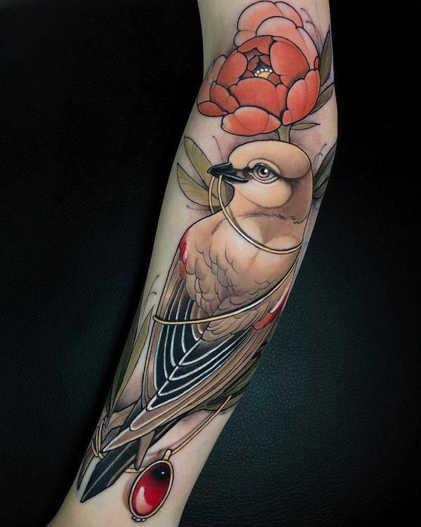 Ring Dove sleeve tattoo