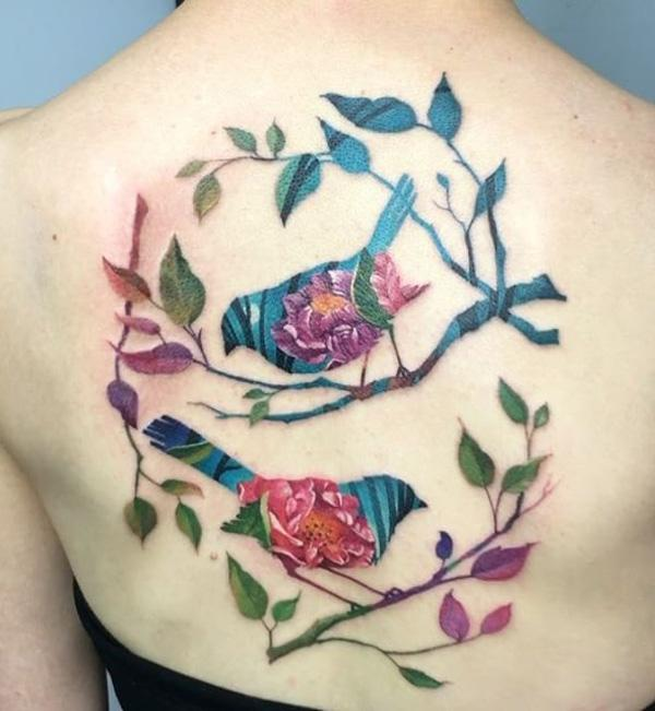 f43d845474054 Colorfal branches and birds tattoo - 110 Lovely Bird Tattoo Designs ...